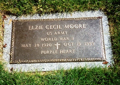 Elzie Cecil Moore grave stone - genealogy military records