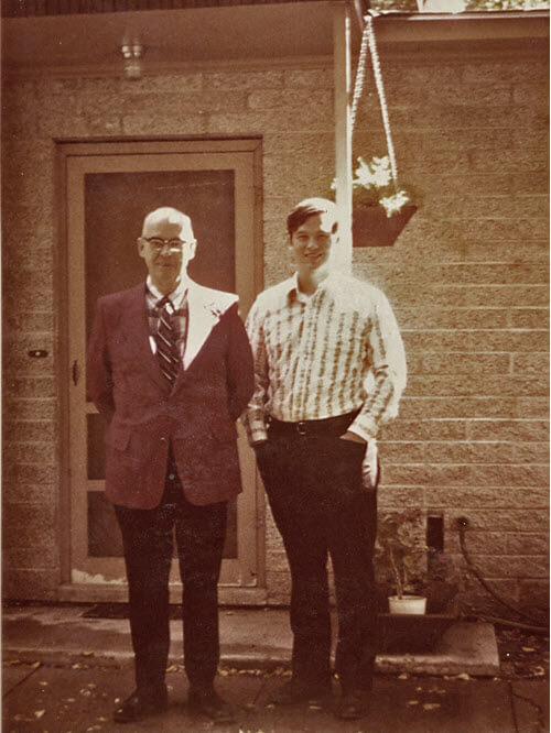Bill and his dad in 1973