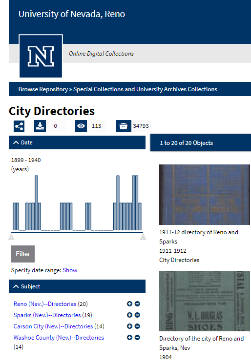Nevada City Directories at the University of Nevada