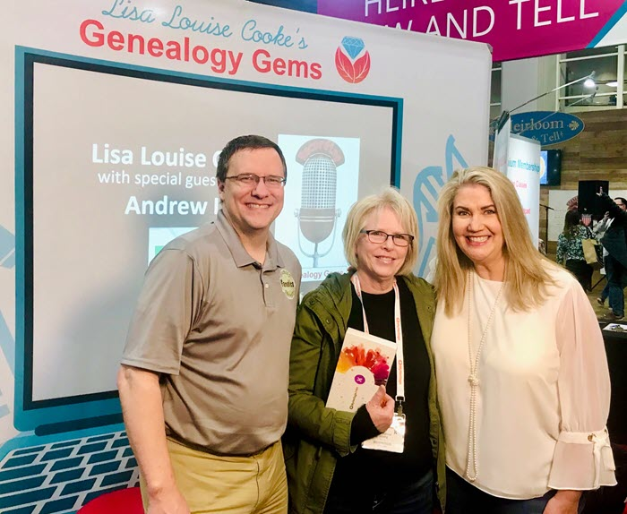 Andrew Lee and Lisa Louise Cooke with a lucky winner at RootsTech 2020