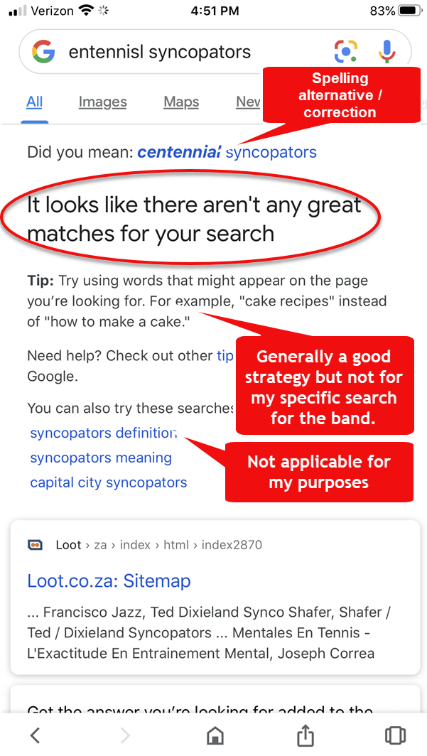 New Google Message: No good results