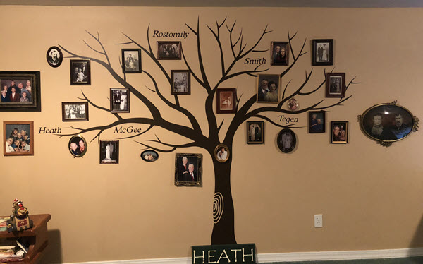Betty's family tree photo wall