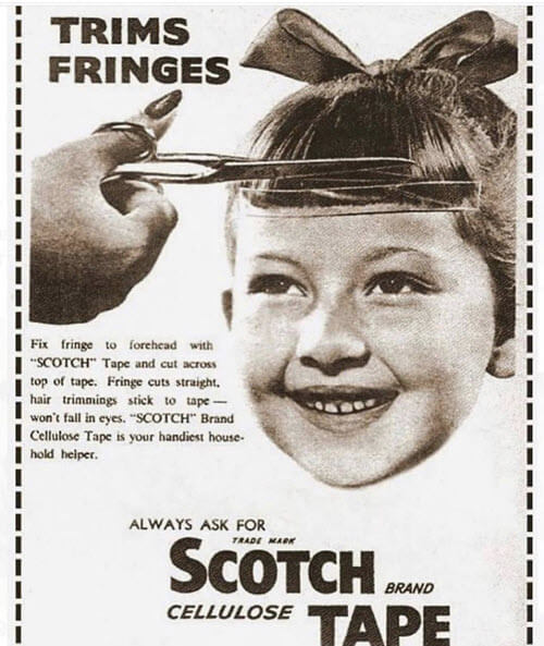 Nostalgia - cutting your bangs with scotch tape